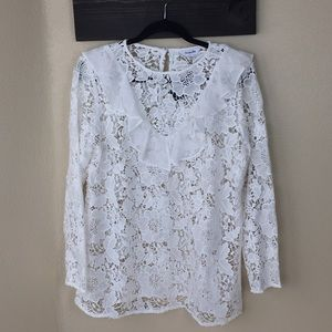 NWT white lace blouse with ruffle collar
